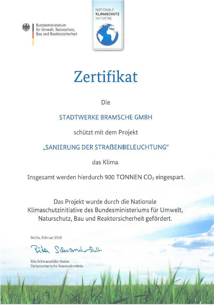 Zertifikat Klimaschutz Straßenbeleuchtung