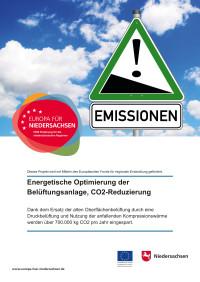 Energetische Optimierung der  Belüftungsanlage, CO2-Reduzierung Dank dem Ersatz der Oberflächenbelüftung durch eine Druckbelüftung und Nutzung der anfallenden Kompressionswärme werden über 700.000 kg CO2 pro Jahr eingespart.